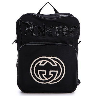 Gucci Tenebre Backpack in Black Nylon with Interlocking G and Bunny Detail
