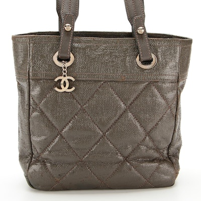 Chanel Biarritz Quilted Coated Canvas Tote with Leather Trim