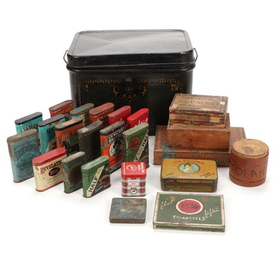 Collection of Tobacco Tins, Cigarette and Cigar Boxes, with Breadbox