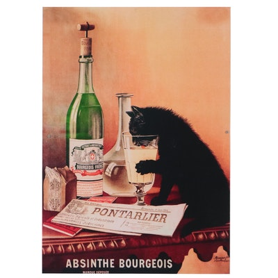 Contemporary Giclée of Black Cat Drinking, 21st Century
