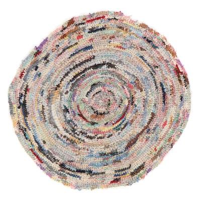 5' Round Handmade Crochet Coil Area Rag Rug