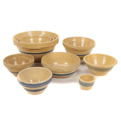 American Yellow Ware Blue Striped Stoneware Mixing Bowls, Early/Mid-20th Century