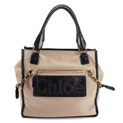 Chloé Hayley Tote in Canvas Tweed with Leather Trim