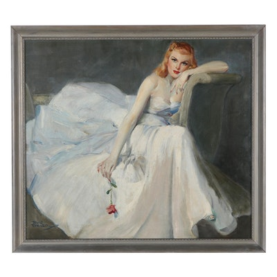 Rico Tomaso Portrait Oil Painting of Elegant Woman, Mid-20th Century