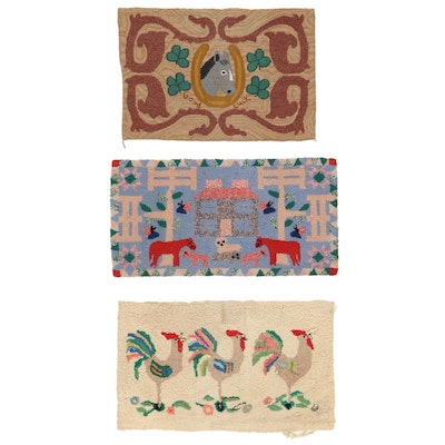 Hand-Hooked Pictorial Accent Rugs, Early to Mid-20th Century