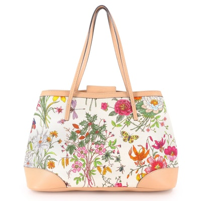 Gucci Botanical Canvas and Brown Leather Tote Bag