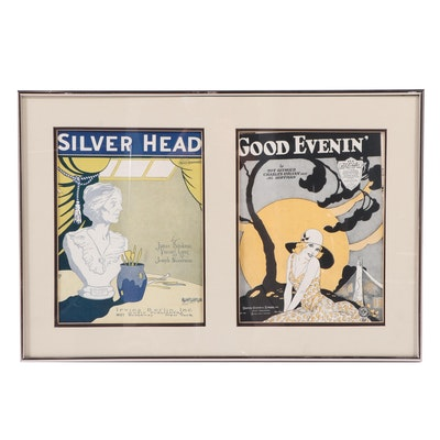 """Sheet Music """"Silver Head"""" and """"Good Evenin',"""" Framed Covers, 1925"""