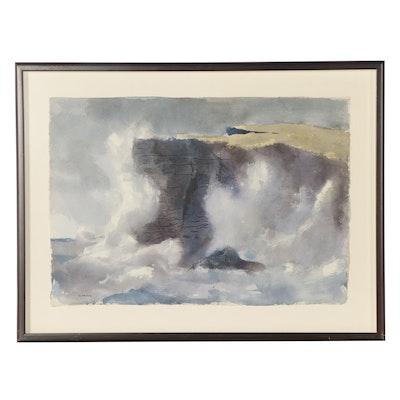 Reginald Grooms Coastal Landscape Watercolor Painting