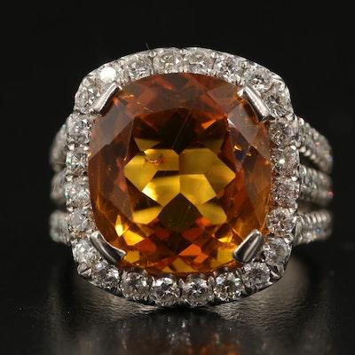 14K 10.40 CT Citrine and 2.07 CTW Diamond Ring