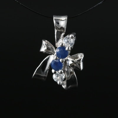 Sterling Ribbon Pendant with Sapphire and Zircon
