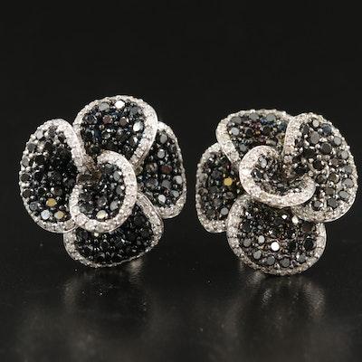 14K 3.54 Diamond Flower Earrings with Contrasting Black Diamonds
