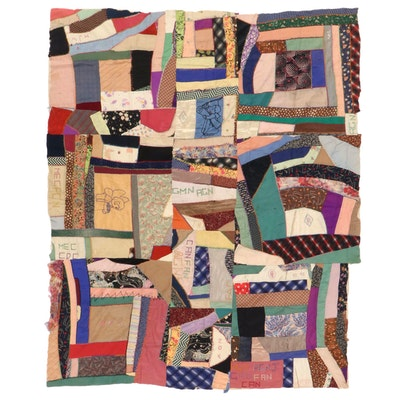 Handmade Pieced and Embroidered Crazy Quilt Top, Early 20th Century