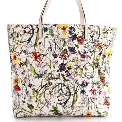 Gucci Large Tote Bag in Canvas Flora Infinity Print with Off-White Leather Trim