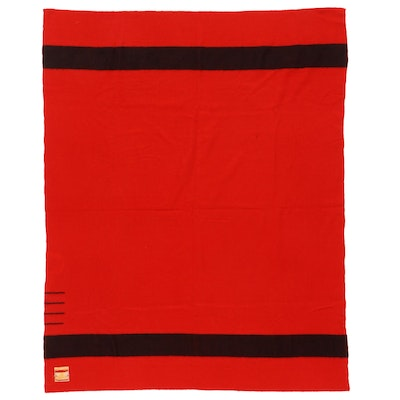 Hudson's Bay Red Four-Point Twin Size Wool Blanket, 1934-1940