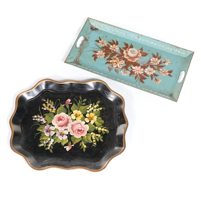 Two Tole-Painted Serving Trays, Including Pilgrim Art, Mid to Late 20th Century