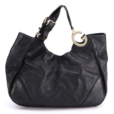 Gucci Charlotte Tote Hobo Bag in Black Guccissima and Smooth Leather