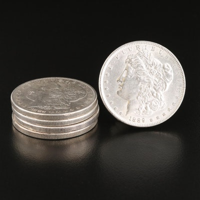 Five 1889 Morgan Silver Dollars