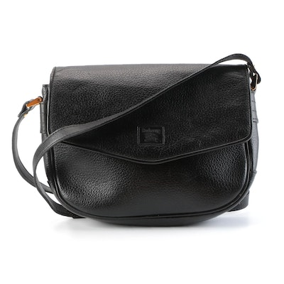 Burberrys Black Grained Leather Front Flap Crossbody