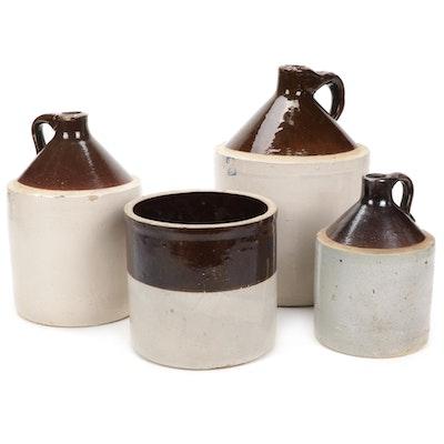 Salt Glazed Stoneware Jugs and Crock