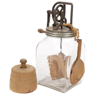 Dazey No. 60 Tabletop Butter Churn with Butter Mold and Wooden Ladle