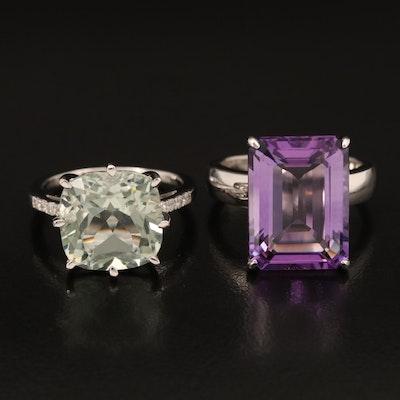 Sterling Rings Including Amethyst, Prasiolite and Diamond