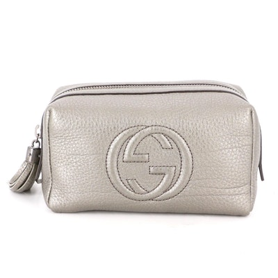 Gucci Cosmetic Case in Pewter Tone Pebble Grain Leather with Tassel Zip