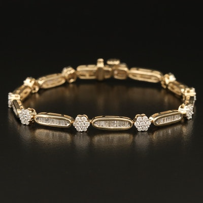 14K 2.27 Diamond Cluster Line Bracelet