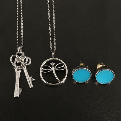 Sterling Button Earrings with Dragonfly and Key Pendant Necklaces