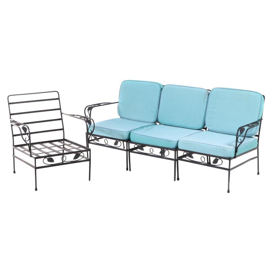 Black-Painted Iron Three-Piece Patio Sofa and Armchair