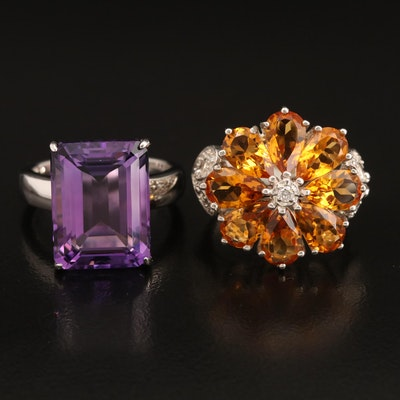 Sterling Amethyst Solitaire Ring with Sterling Citrine and Diamond Flower Ring