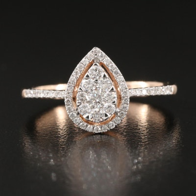 10K Rose Gold 0.46 CTW Diamond Cluster Halo Ring