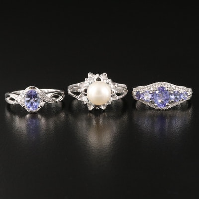 Sterling Rings Featuring Cultured Pearl, Tanzanite, White Topaz and More