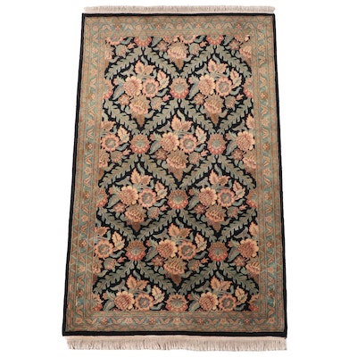 4' x 6'8 Hand-Knotted Indian Savonnerie Style Area Rug