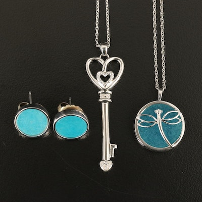 Sterling Dragonfly and Key Pendant Necklaces with Earrings
