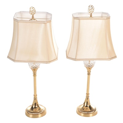 Brass and Crystal Buffet Table Lamps