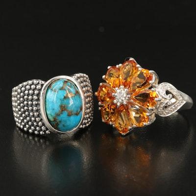 Sterling Gemstone Rings Including Michael Dawkins