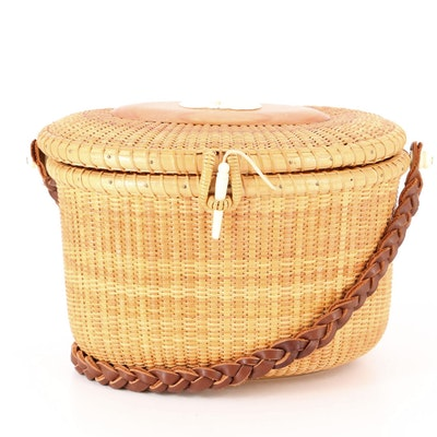 Nantucket Purse in Woven Wicker with Braided Leather Shoulder Strap