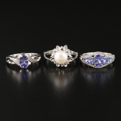 Sterling Silver Pearl, Tanzanite a nd White Topaz Rings
