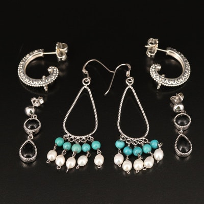 Sterling Earrings Including Turquoise, Pearl and Black Onyx