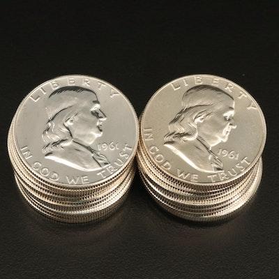 Twenty 1961 Franklin Silver Proof Half Dollar