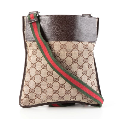 Gucci GG Canvas Slim Crossbody Bag with Leather Trim and Web Stripe Strap