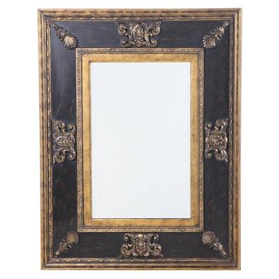 Large Ebonized and Parcel-Gilt Mirror