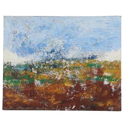 """Cassandra Linnea Auker Impasto Oil Painting """"Marin County Fog,"""" 2021"""