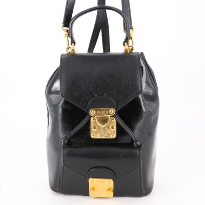 Fendi Backpack in Black Patent Leather