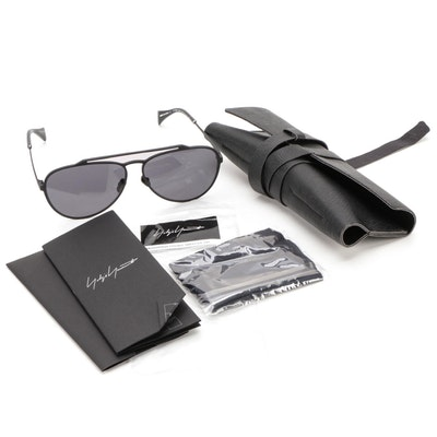 Yohji Yamamoto YY7039 Matte Black Sunglasses with Case