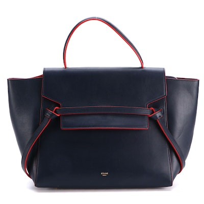 Céline Pico Belt Bag in Navy Blue Leather with Red Contrast Piping