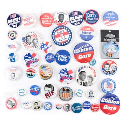 Campaign Pinback Buttons Featuring Reagan, Bush, Clinton, Nixon, and Kennedy