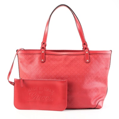 Gucci Diamante Red Leather Craft Tote with Zip Pouch