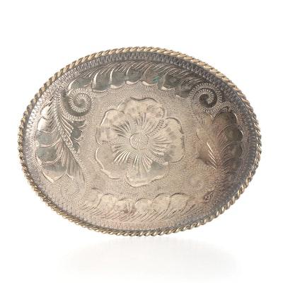 Engraved Sterling on Nickel Silver Belt Buckle by R&R Buckles