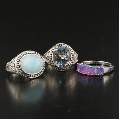 Sterling Gemstone Rings Including SeidenGang